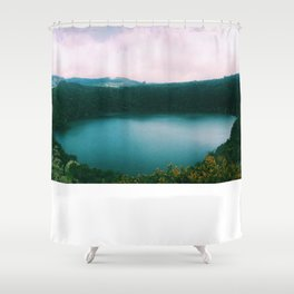 The Lake of the Living Spirals Shower Curtain