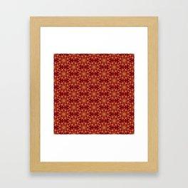 red green golden mandala Framed Art Print