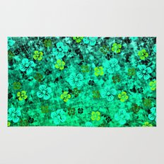 LUCK OF THE IRISH Colorful Emerald Green Ombre St Patricks Day Floral Shamrock Four Leaf Clover Art Rug