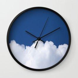 Semi-cloudy Day - Fluffy White Cumulus On The Blue Sky #decor #society6 #buyart Wall Clock