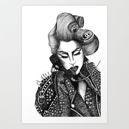 GIRL WITH A TELEPHONE Art Print
