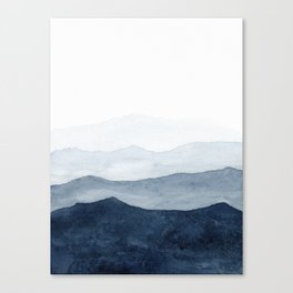 Indigo Abstract Watercolor Mountains Canvas Print
