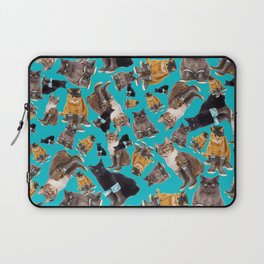 Tough Cats on Aqua Laptop Sleeve