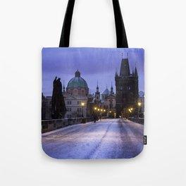Winter and Snow at the Charles Bridge, Prague Tote Bag