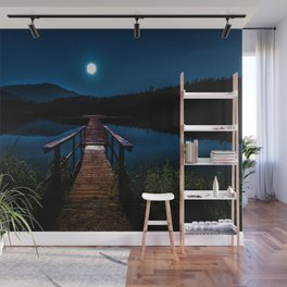 Dock under a Summer Moon and Stars Photographic Landscape Wall Mural