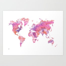 Watercolour World Map (orange/pink/purple) Art Print