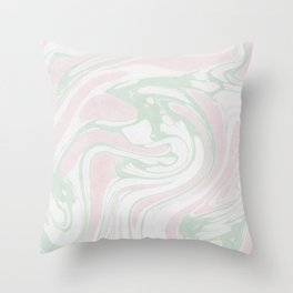 Paper Marbling Marble Effect Swirl Pink Green Throw Pillow