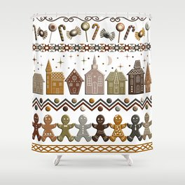 Gingerbread Row Dance in Snow White Shower Curtain