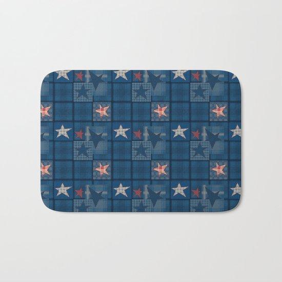 Blue denim patchwork . Bath Mat