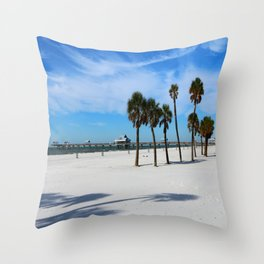 Clearwater Pier And Beach Throw Pillow