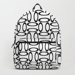 Modern Oval Black and White Backpack