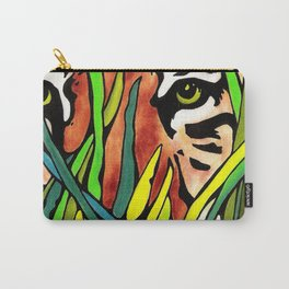 Tiger Eyes Looking Through Tall Grass By annmariescreations Carry-All Pouch