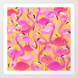 Flamingo pattern orange Art Print