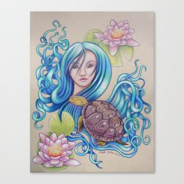 Blue Nova, Turtle Colored Pencil Drawing Canvas Print