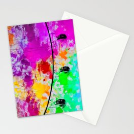ferris wheel with pink blue green red yellow painting abstract background Stationery Cards