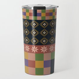 flowers and squares ethnic patchwork Travel Mug