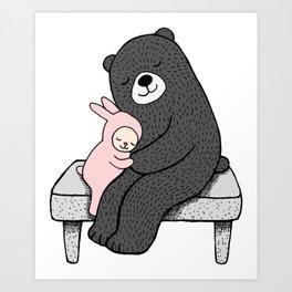 Bear & Bunny on bench Art Print