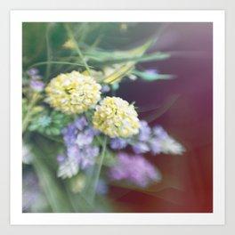 Garden blured flowers Art Print