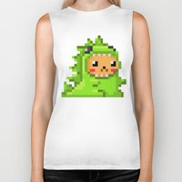 8bit Biker Tanks featuring 8bit Dinobear by Bear Picnic