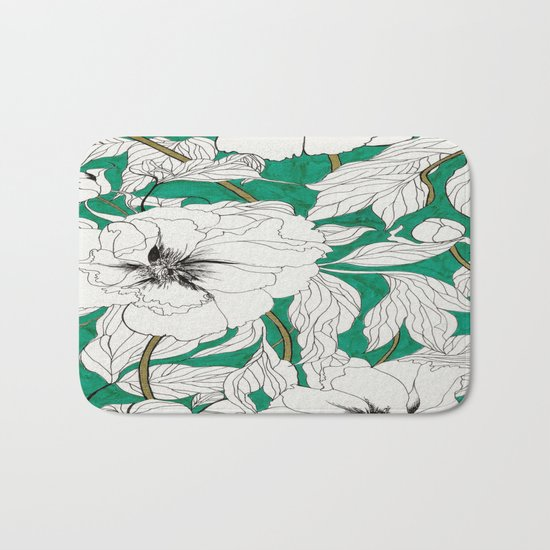 green peonies Bath Mat
