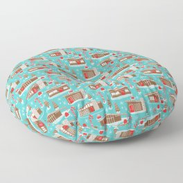 Mid Century Modern Gingerbread Houses Floor Pillow
