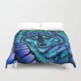 Blue Wolf Aurora Colorful Fantasy Duvet Cover
