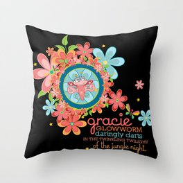 GRACIE glowworm® daringly darts in the twinkling twilight of the jungle night. Throw Pillow