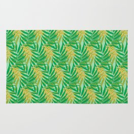Tropical Palm Leaves Seamless Pattern Rug