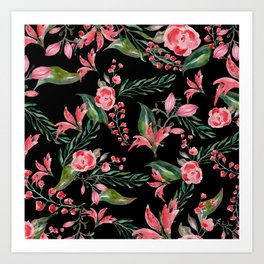 Flowers / black Art Print