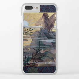 Vintage Art Nouveau Composition with Winged Nymph Clear iPhone Case