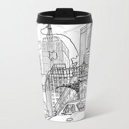 New York! B&W Metal Travel Mug