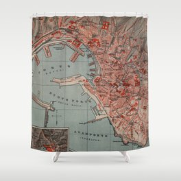 Vintage Map of Genoa Italy (1894) Shower Curtain
