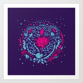 Aqua + Lotus Art Print