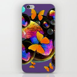 COLORFUL FUN  BUBBLES & YELLOW BUTTERFLIES PURPLE FANTASY iPhone Skin