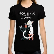 Mornings are the worst Womens Fitted Tee SMALL Black
