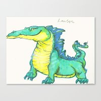 nan lawson Canvas Prints featuring Lawson the existent dragon by Tara Dragon