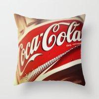 coca cola Throw Pillows featuring Coca-Cola by BeccAi