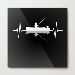 Angler Fisherman Fishing Boat Heartbeat Gift Metal Print