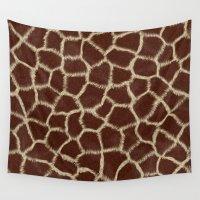 giraffes Wall Tapestries featuring Giraffes' Love by MW. [by Mathius Wilder]
