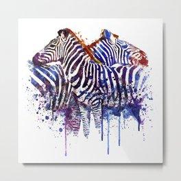 Zebras in Love Metal Print