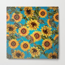 Vintage & Shabby Chic - Sunflowers on Turqoise Metal Print