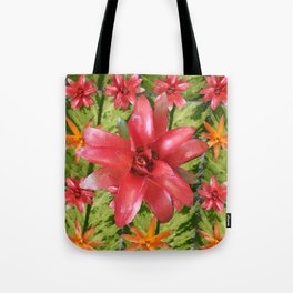 Patterned Flowers with Center Flower Tote Bag