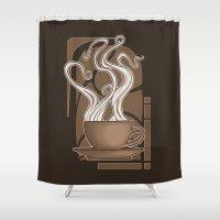 nouveau Shower Curtains featuring Coffee Nouveau by Perdita