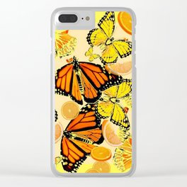 YELLOW MONARCH BUTTERFLY  & ORANGES MARMALADE Clear iPhone Case