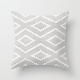 Stitch Diamond Tribal Print in Grey Throw Pillow