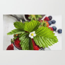 Fresh Berries on Wooden Background Rug