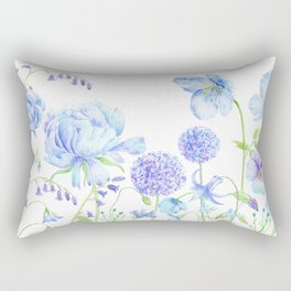 Watercolor Blue Garden Illustration Rectangular Pillow