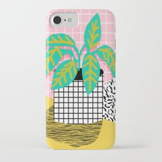 Get Real - potted plant throwback retro neon 1980s style art print minimal abstract grid lines shape iPhone 7 Slim Case