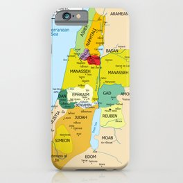 Map of Twelve Tribes of Israel from 1200 to 1050 According to Book of Joshua iPhone Case