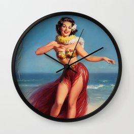 Hula Girl Vintage Pin Up Art Wall Clock